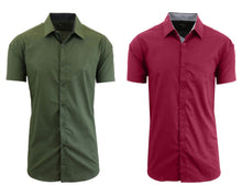 Daily Deals Men's Short Sleeve Dress Shirt (2-Pack) Clothing Olive & Maroon - Small