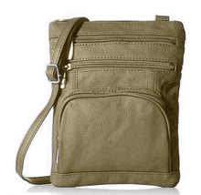 Leather Crossbody Bag with Shoulder Strap Handbags Olive