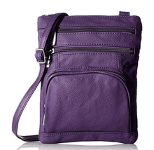 Leather Crossbody Bag with Shoulder Strap Handbags Purple