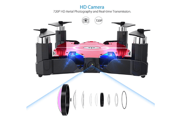 Compact FPV Drone with Camera & Foldable Arms + Smartphone & Physical Remote