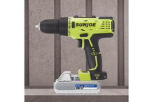 Sun Joe 24-Volt Cordless Drill Driver with 2Ah Lithium iON Battery Handheld Power Drills