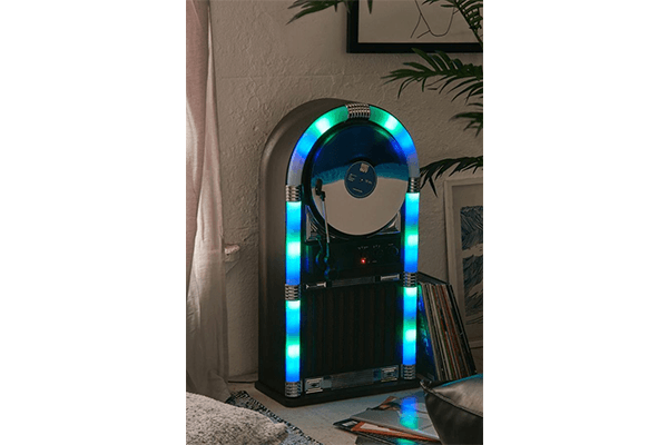 ART+SOUND Bluetooth Jukebox with Vertical Record Player & LED Lights