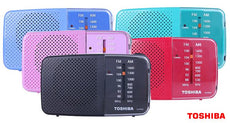 Toshiba AM/FM Pocket Portable Battery Operated Radio - 5 Colors