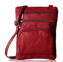 Leather Crossbody Bag with Shoulder Strap Handbags Red
