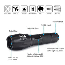 1000-Lumen Rechargeable LED Flashlight with 3-Modes & Zoom Focus
