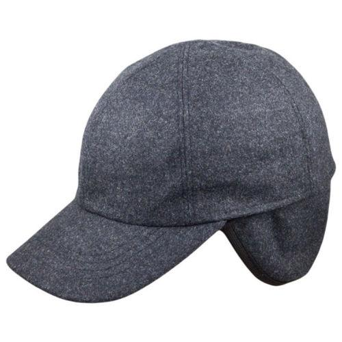 ebe9d46f4db9f ... Men s Wool Blend Charcoal Grey Winter Baseball Cap w  Inner Ear Flaps  Hats ...
