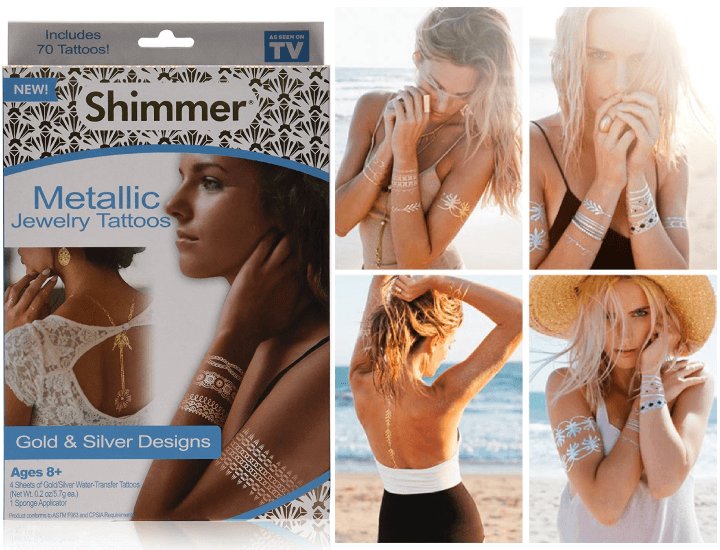 Daily Deals Shimmer Metallic Jewelry Tattoos As Seen on TV (2-Pack) Temporary Tattoos
