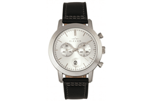 Elevon Langley Chronograph Leather-Band Watch Watches Silver/Black Band