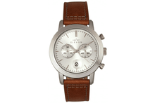 Elevon Langley Chronograph Leather-Band Watch Watches Silver/Brown Band