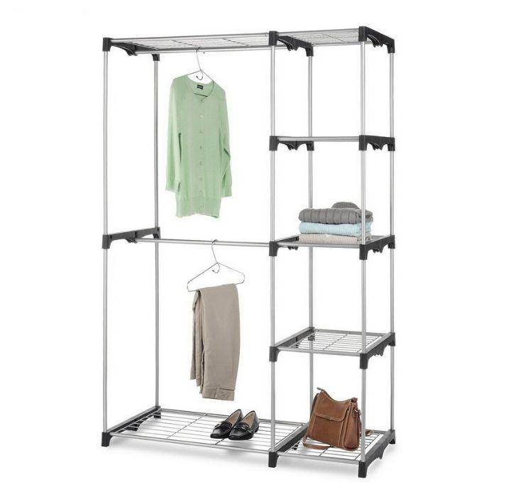 Daily Deals Silver Portable 5-Tier Wardrobe Clothing & Closet Storage
