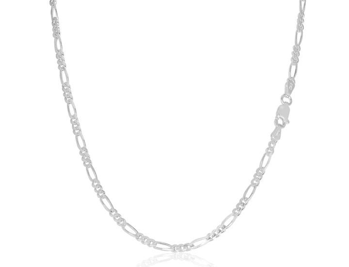 Daily Deals Solid .925 Sterling Silver 2.2 mm Italian Figaro Link Chain Necklaces