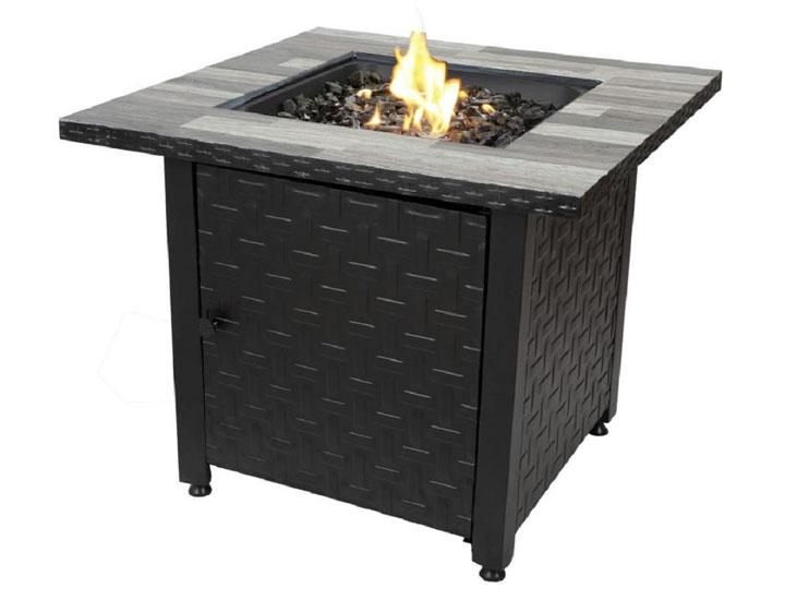 Daily Deals Square Gas Fire Pit Table with Stainless Steel Burner Accent Tables