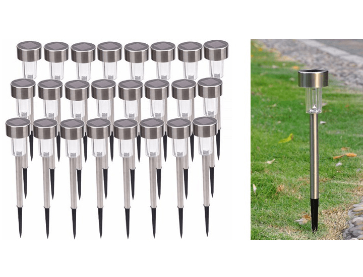 24-Pack Stainless Steel Outdoor LED Solar Powered Path Lights