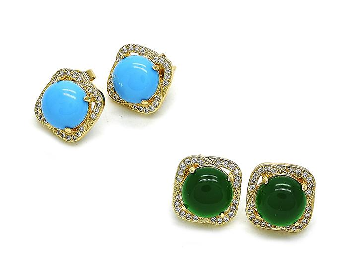 Opal Turquoise or Emerald Stud Earrings