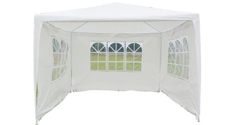 10x10 Foot Party Tent with Three Removable Side Window Panels  - UntilGone.com