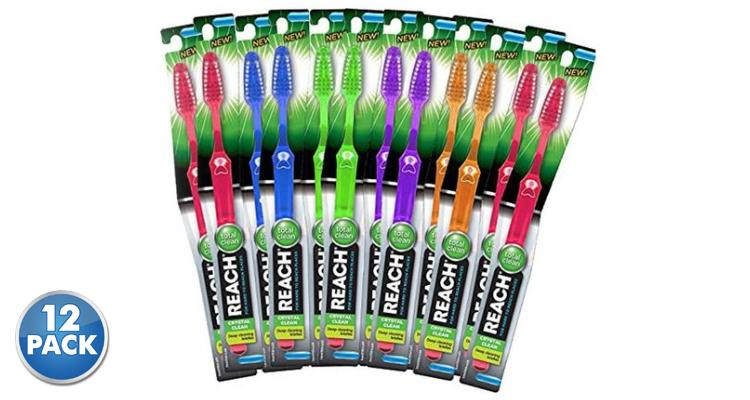 [12- Pack] Reach Crystal Clean Deep-Cleaning Soft-Bristle Toothbrushes - Assorted Colors  - UntilGone.com