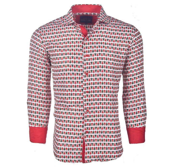 Men's Slim-Fit Christmas Button Down Shirt