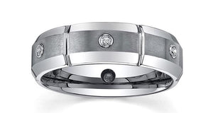 Tungsten Men's 1/6ct TDW Diamond Dual-finished 7-MM Band  - UntilGone.com