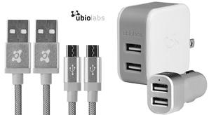 Ubio Labs Charging Bundle with Two 6ft Micro USB Cables and Dual USB 4.8A Wall & Car Chargers Power Adapters & Chargers