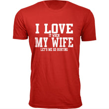 Daily Deals Men's 'I Love It When My Wife Let's Me Go Hunting' T-shirt Shirts & Tops Without Antler - Red / S