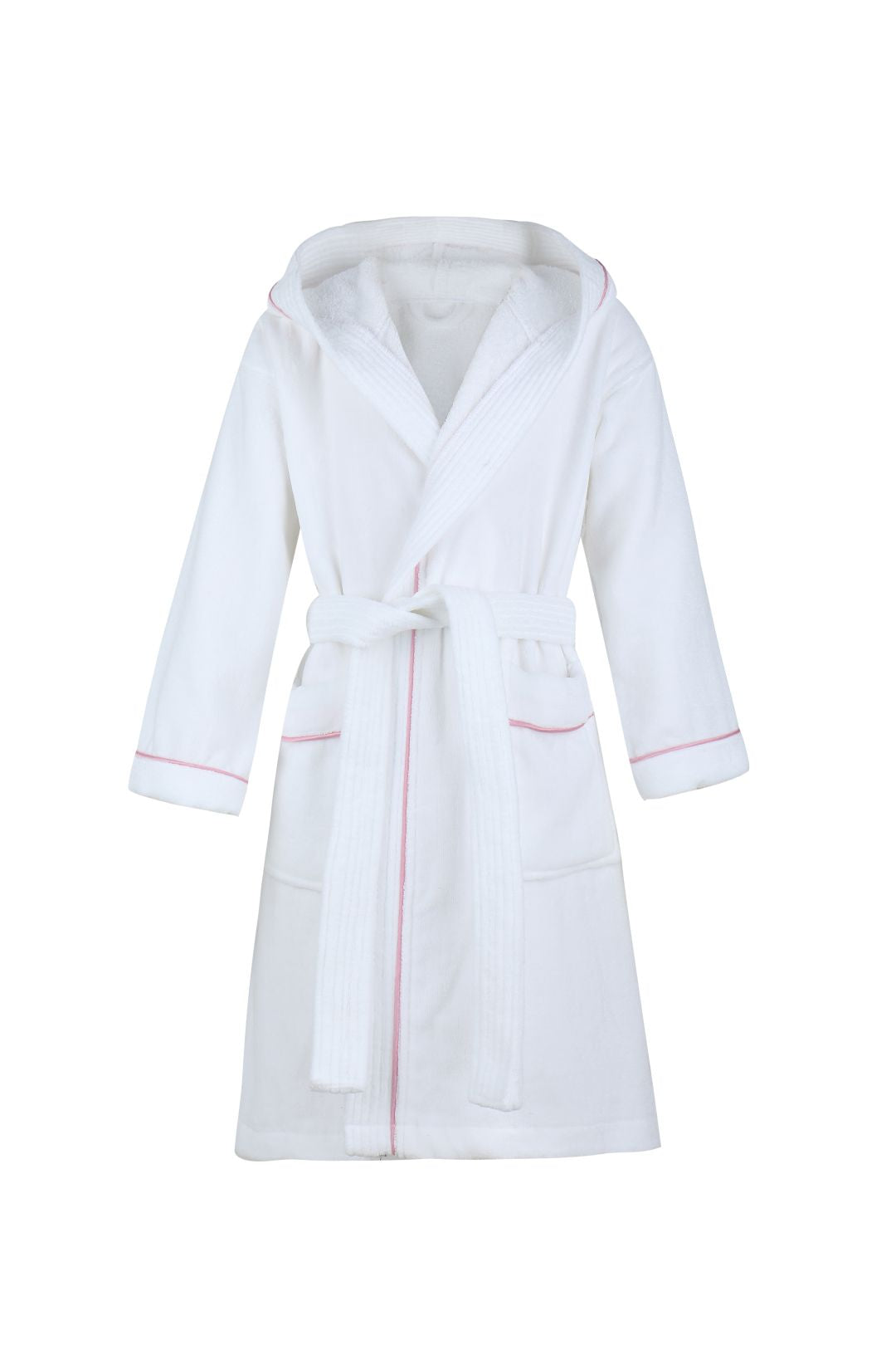 83dfe16e33 Velour Terry Hooded Bathrobe - 100% Cotton - Unisex - White Hotel Pool Spa  Robe Sleepwears Pajamas for Kids