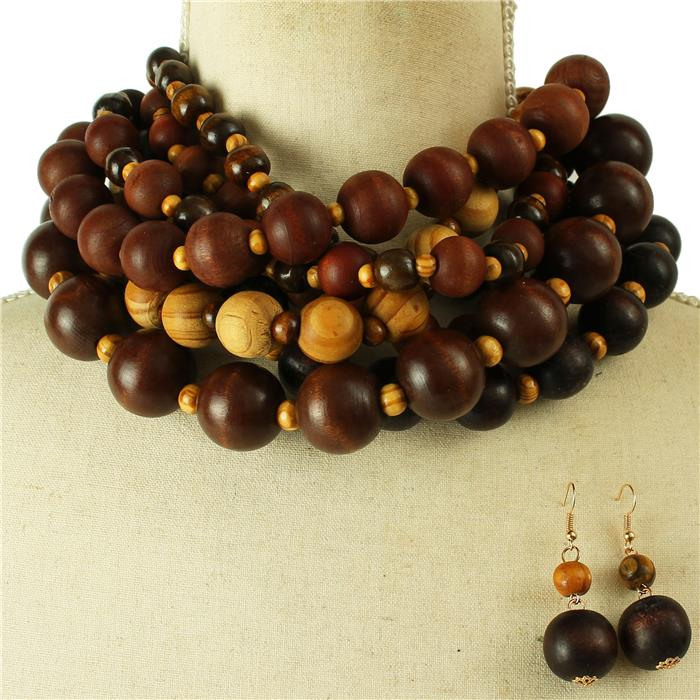 Wooden Layered Necklace Set