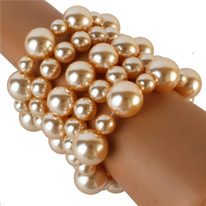 Cream Ball 5 Layers Bracelet