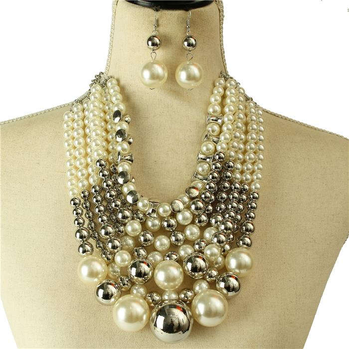 Silver Pearl Balls Necklace Set