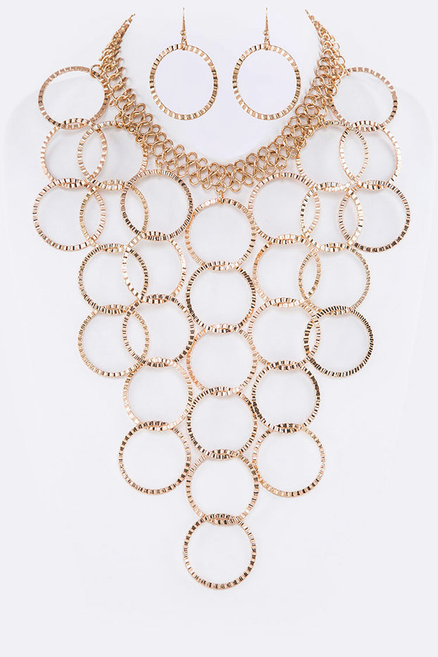 Gold Ring Bib Iconic Statement Necklace Set