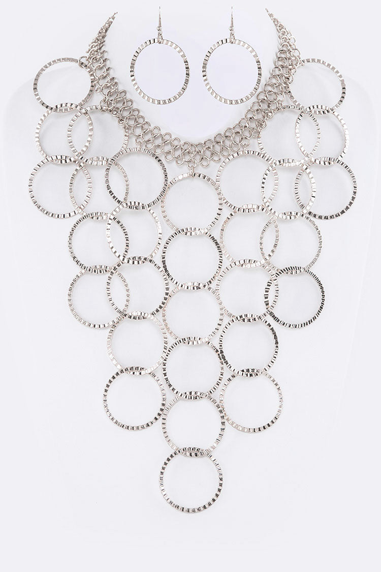 Silver Ring Bib Iconic Statement Necklace Set