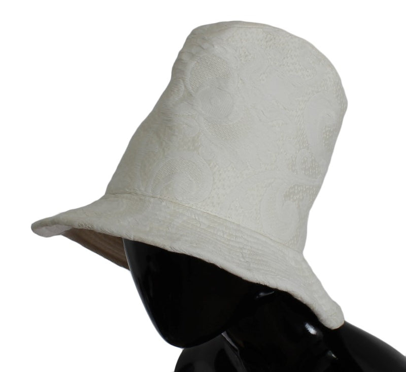 White Floral Cotton Silk Bucket Hat Watchoria