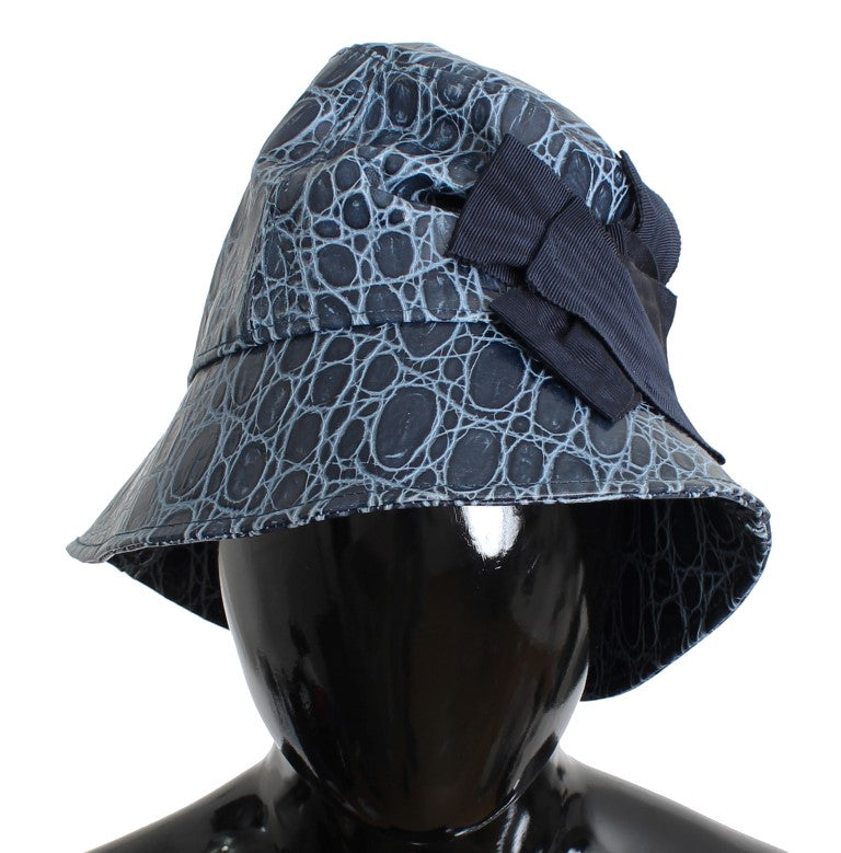 Blue Calfskin Leather Cloche Hat Watchoria