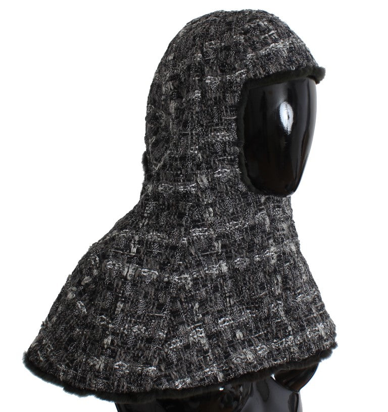 Gray Weasel Fur Crochet Hood Scarf Hat Watchoria