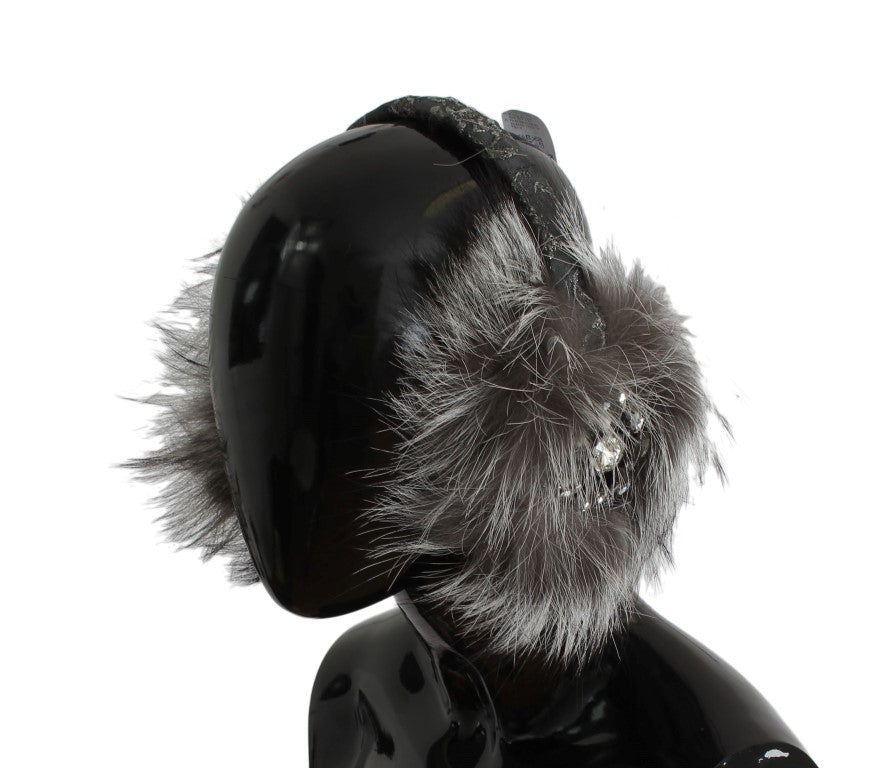 Gray Fox Fur Crystal Ear Muffs Watchoria