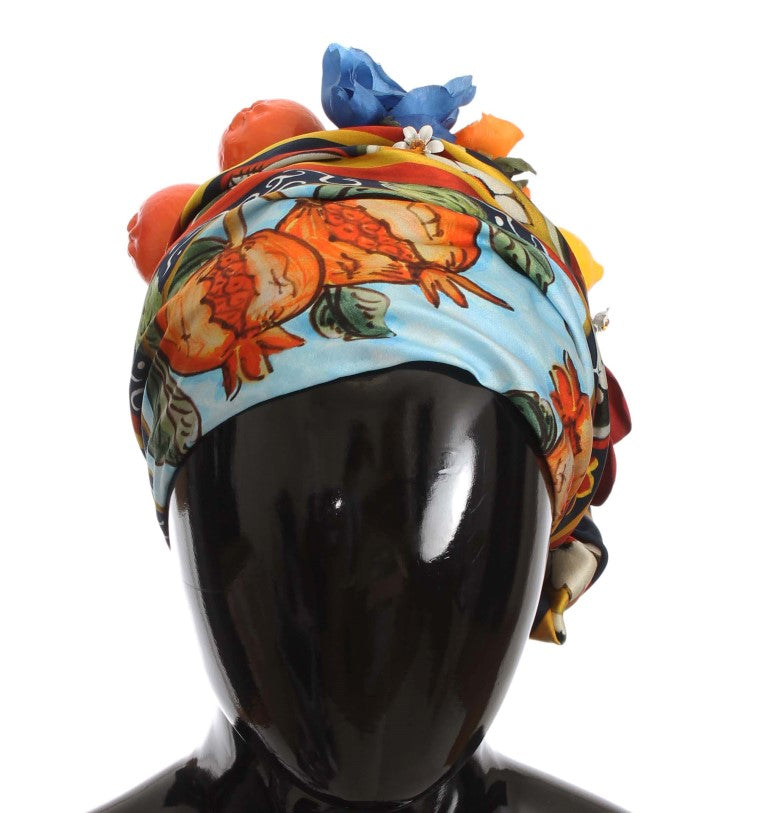 Floral Fruit Roses Crystal Silk Headwear Turbane Watchoria
