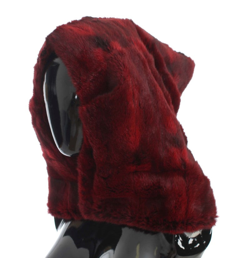 Bordeaux Hamster Fur Crochet Hood Scarf Hat Watchoria