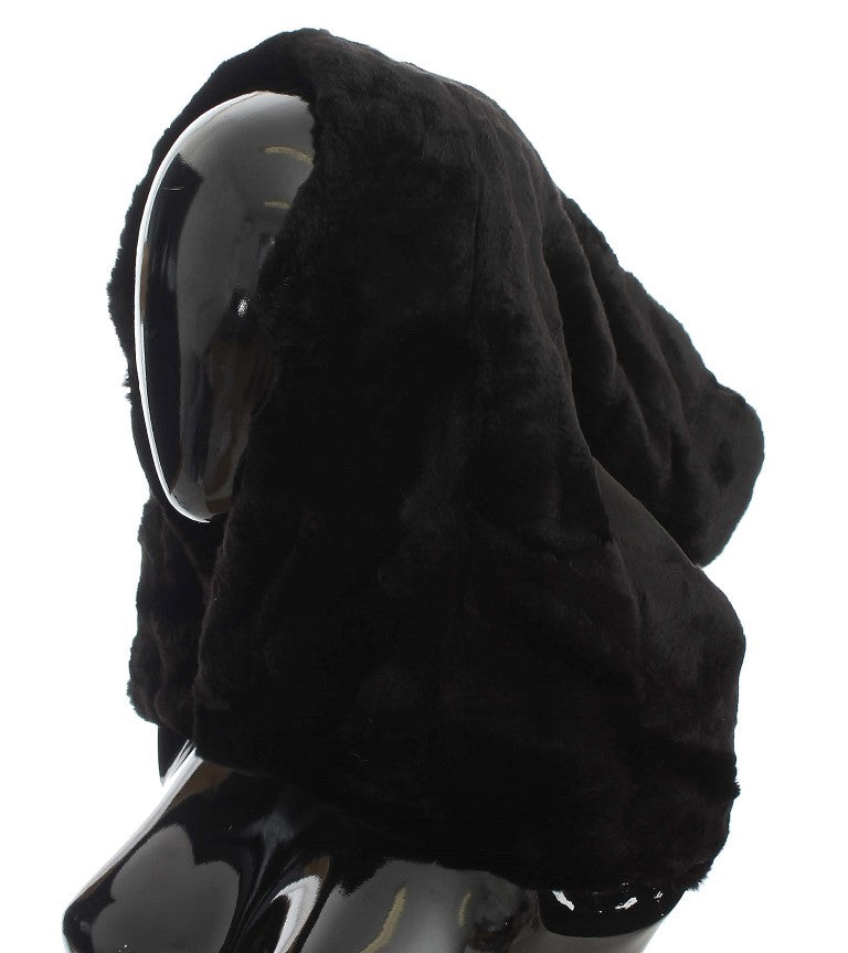 Black Weasel Fur Crochet Hood Scarf Hat Watchoria
