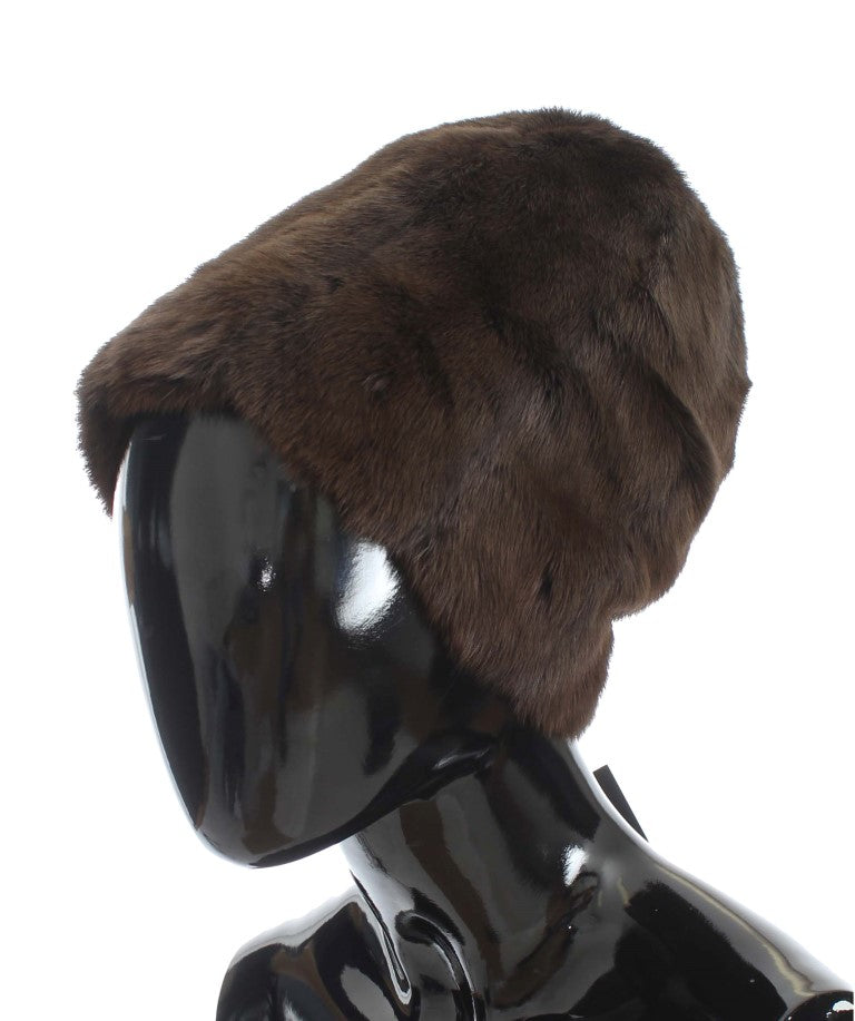 Brown Weasel Fur Womens Cashmere Hat Beanie Watchoria