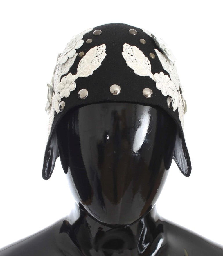Black Wool White Floral Gold Leaf Hat Watchoria