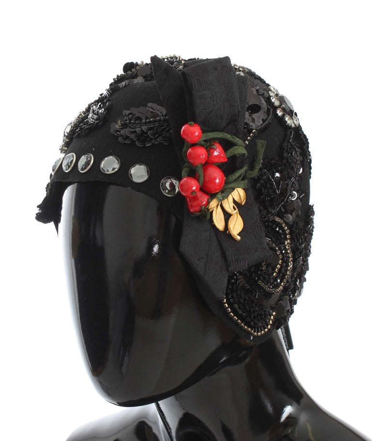 Black Crystal Gold Cherries Brooch Hat Watchoria