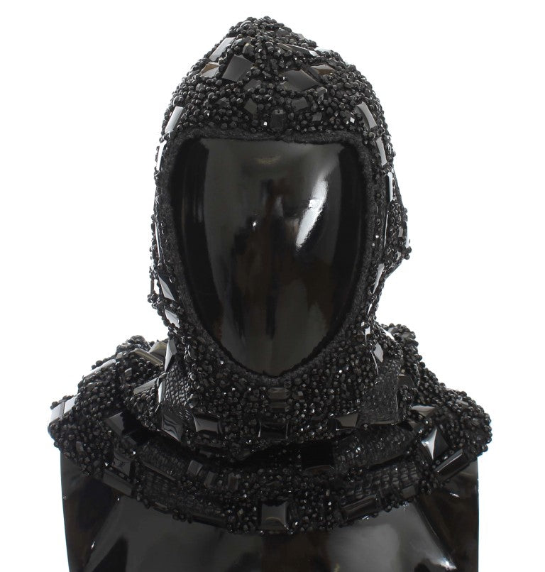 Black Crystal Glass Sequin Hood Scarf Hat Watchoria