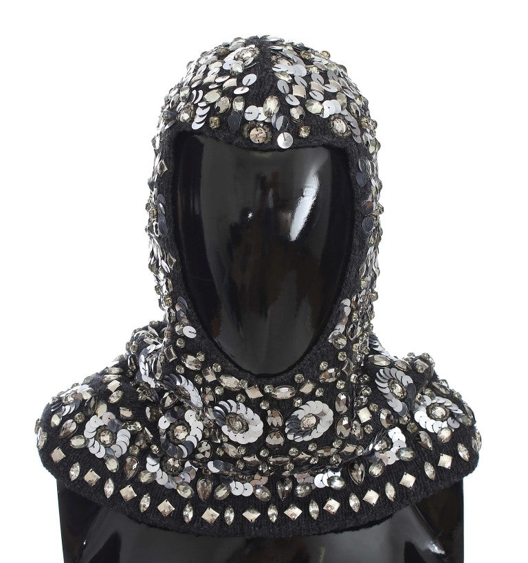 Gray Crystal Sequin Hood Scarf Hat Watchoria