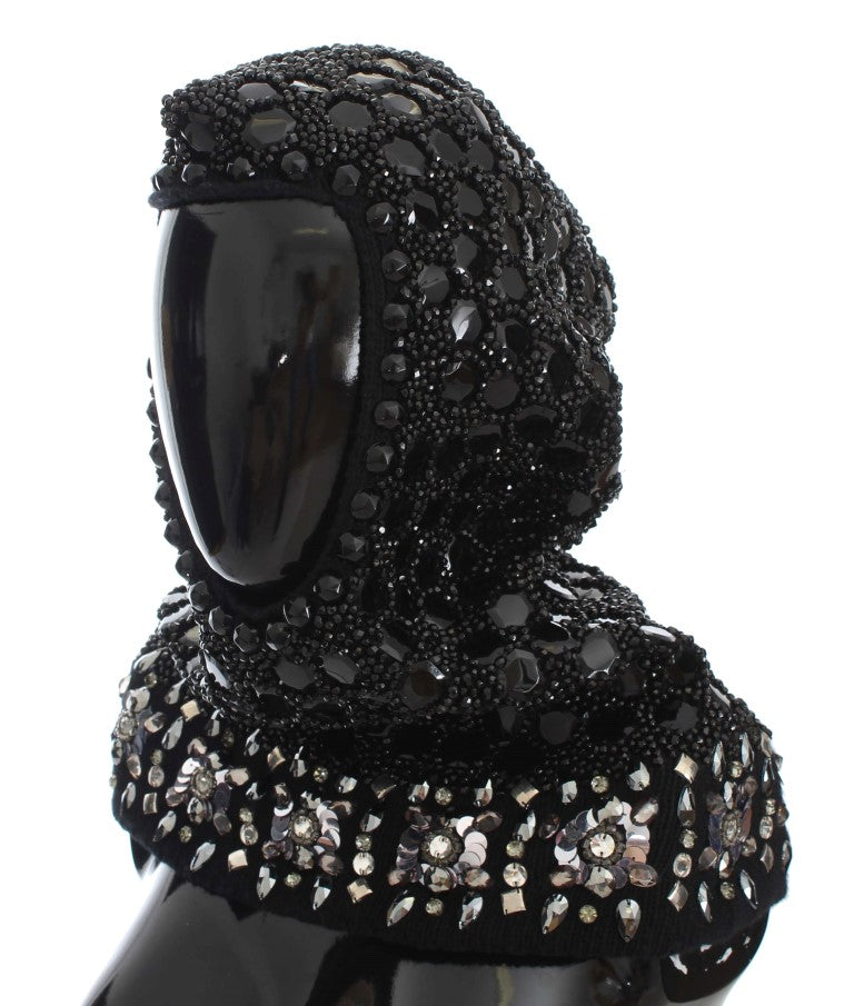 Black Crystal Sequin Hood Scarf Hat Watchoria