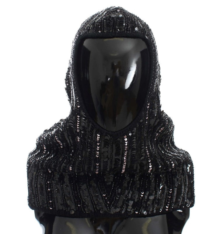 Black Knitted Sequin Hood Scarf Hat Watchoria
