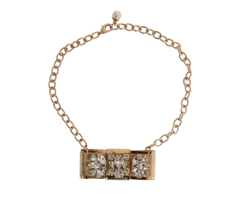 Gold Brass Clear Crystal Bow Necklace Watchoria