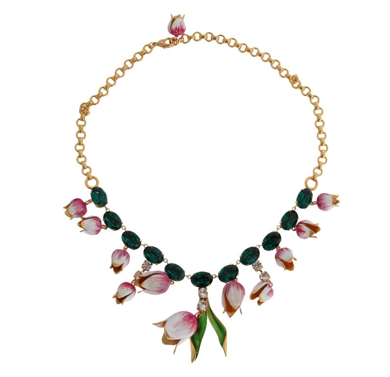 Gold Brass White Tulip Crystal Charms Necklace Watchoria