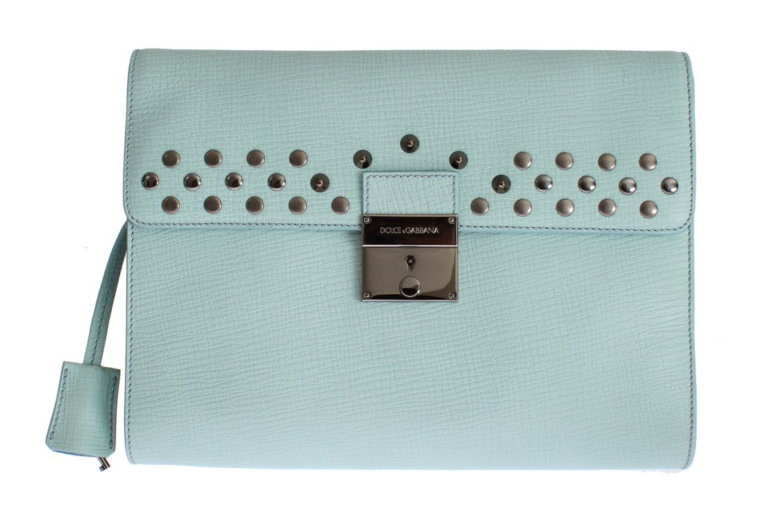 Blue Leather Studded Document Portfolio Briefcase Bag Watchoria