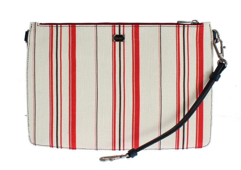 White Red Striped Linen Shoulder Messenger Bag Watchoria