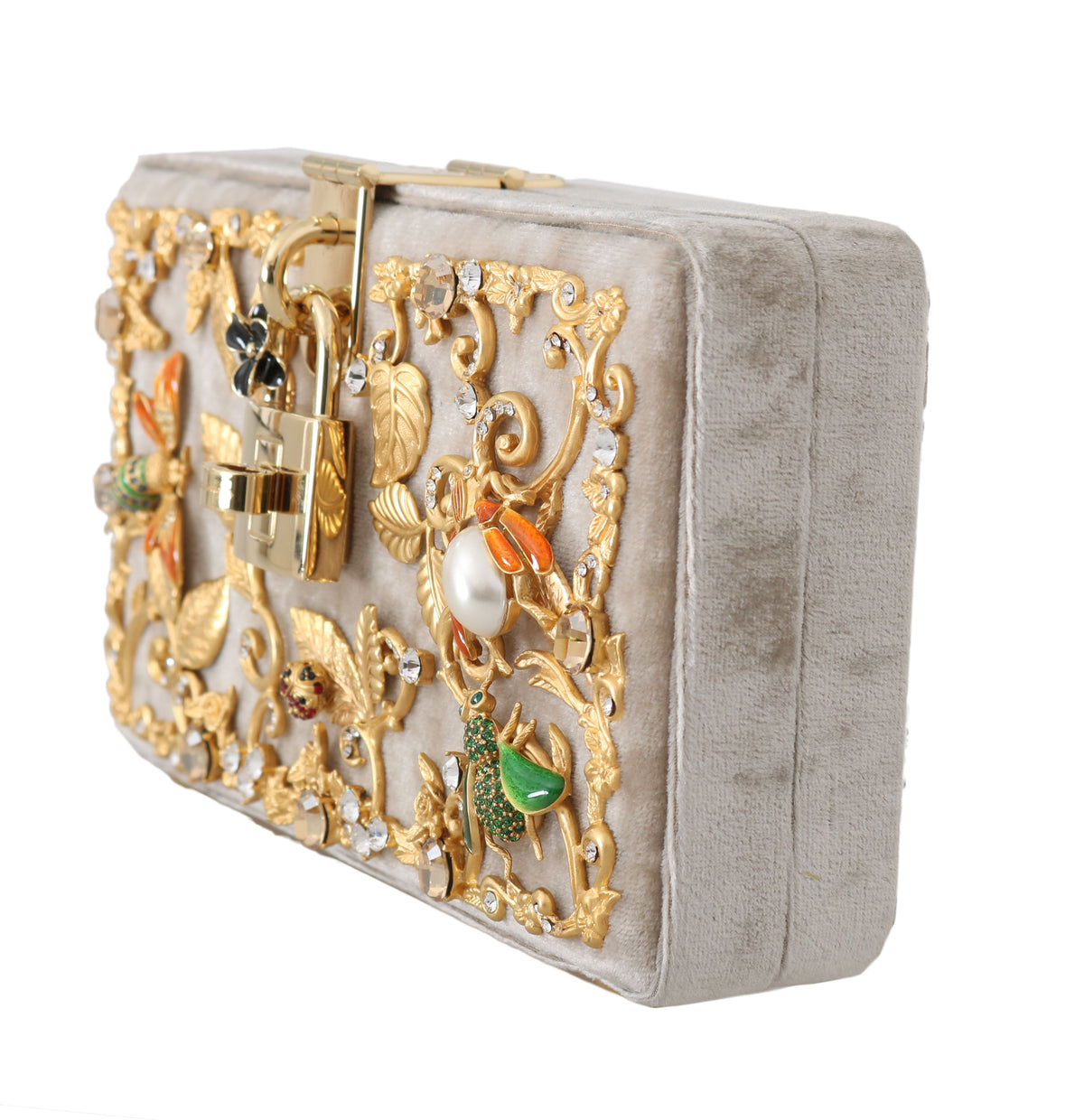 Beige Velvet Gold Baroque Crystal Clutch Purse