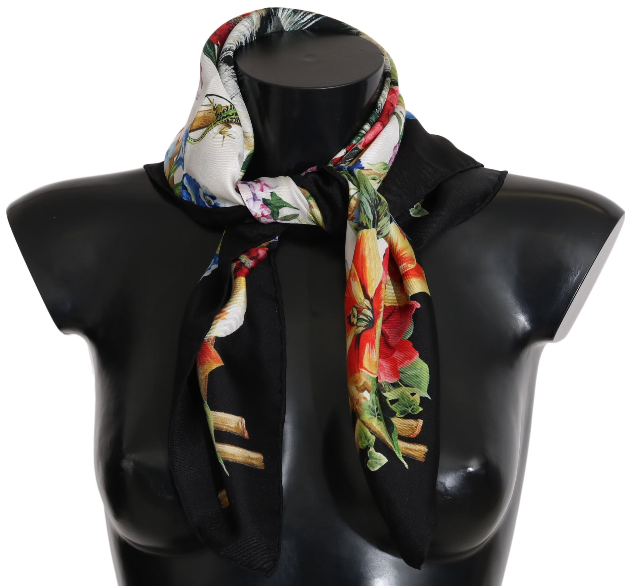 Multicolor Square Silk Tiger Floral Scarf Watchoria